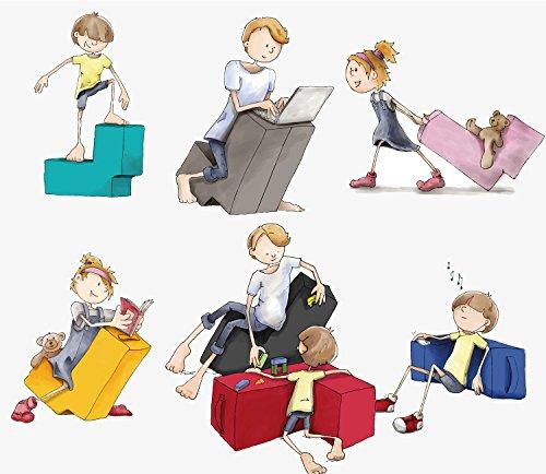 Lümmel Erlebnismöbel | Hochwertiger Polstersessel/Polstersofa mit Abnehmbaren Stoff-Bezug zum Sitzen, Spielen und Rumtoben | Loungemöbel/Spielmöbel für Kinder und Erwachsene | violett