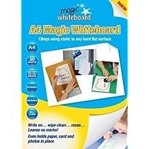 Magic Whiteboard - Hojas de pizarra autoadhesiva (A4, 20 hojas), color blanco