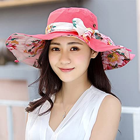 Beach Hat Female Summer Beach All-Match Folding Sunshade Cap Uv Sunscreen,Watermelon Red (Baby In Watermelon Kostüm)