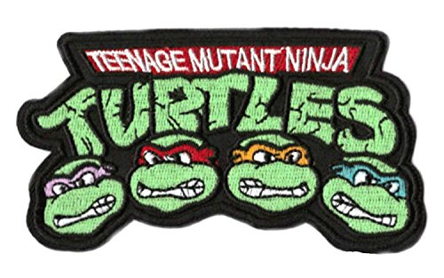 TMNT Logo Patch Aufnäher Aufbügler Abzeichen 9 cm Teenage Mutant Ninja Turtles Kostüm Aufnäher Retro Cartoon Collectible Souvenir ()