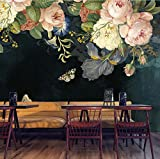 Papel tapiz 3D Tela de seda Lienzos a prueba de agua Murales Pintura de pared Pastoral Floral Flor Pintura al óleo Mural Negro Wallpaper-120cmx100cm