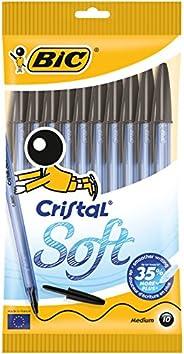 Bic Cristal Soft Pennea Sfera, Punta Media (1.2 mm), Nere, Confezione da 10 Penne, per Scrivere a Scuola e a C