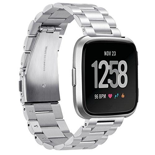 TopTen Fitbit Versa Uhrenarmband, verstellbar, Edelstahl, Schmuck, Sport-Armband, Ersatz-Zubehör, Schmuck Armband für Fitbit Versa Gesundheit und Fitness Smartwatch M Silber