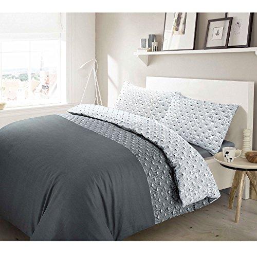 Bettwäsche-Set aus gebürsteter Baumwolle, 100 % Baumwolle, grau, Einzelbett