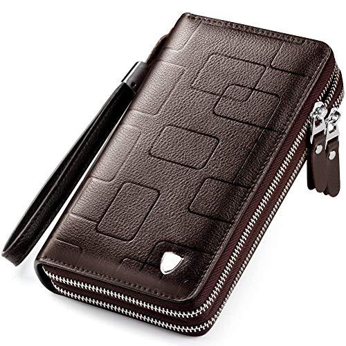 WEIXIER Herren clutch handtasche leder reißverschluss lange mappen-geschäft hand clutch-telefon-halter 7.87in * 4.72in * 1.96in stripe Braun doppel-reißverschluss