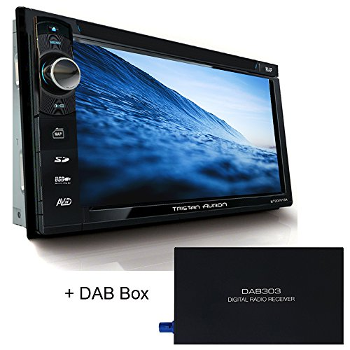 Tristan Auron BT2D7013B Autoradio mit GPS Navi + DAB Box, 6,5'' Touchscreen Bildschirm, Web-Link, Bluetooth Freisprecheinrichtung, USB I SD, CD I DVD, DAB+ Lenkradsteuerung Rückfahrkamera 2 Din