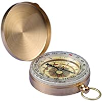 SIENOC Camping Hiking Portable Pocket Watch Flip-Open Compass Outdoor Navigation Tools – Golden