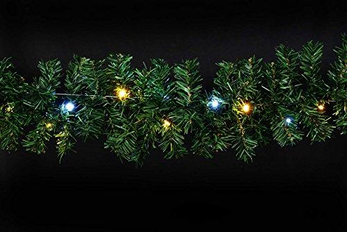Tannengirlande 8,1 m 120 LED-Mix kaltweiß/warmweiß für Weihnachten von Gartenpirat®