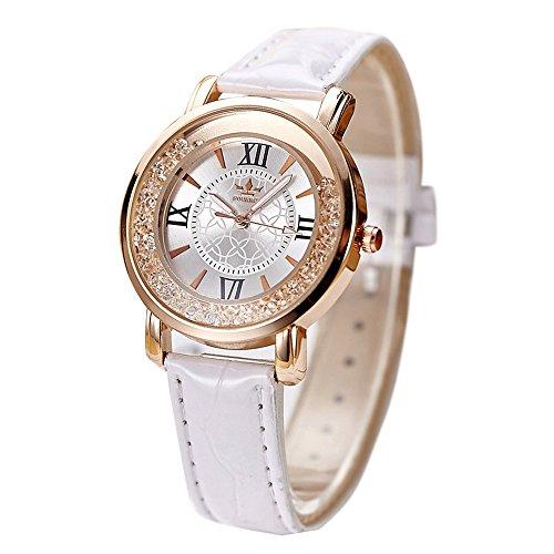 Uhren Dellin Qualität Japanisches QuarzWomen's Herren Kristall Strass Edelstahl Analog Quarz Armbanduhr (Weiß)