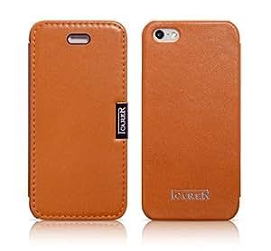 Luxus Tasche für Apple iPhone SE , iPhone 5S und iPhone 5 / Case Außenseite aus Echt-Leder / Innenseite aus Textil / Schutz-Hülle seitlich aufklappbar / ultra-slim Cover / Farbe: Orange-braun
