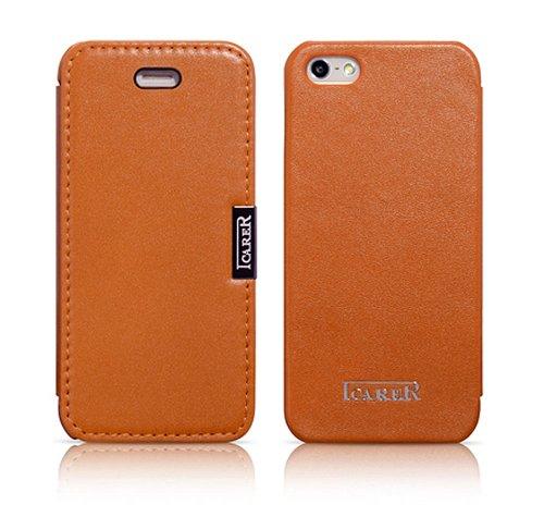 Luxus Tasche für Apple iPhone SE , iPhone 5S und iPhone 5 / Case Außenseite aus Echt-Leder / Innenseite aus Textil / Schutz-Hülle seitlich aufklappbar / ultra-slim Cover / Vintage Look / Farbe: Rot Orange / Orangebraun - glatt