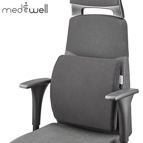 MEDIWELL Almohada lumbar ortopédica para silla de oficina   Cojin de apoyo lumbar   Cojín dorsal ergonómico que reduce el dolor y mejora la postura para asiento   Negro