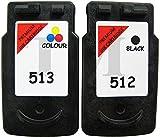 PG-512y CL-513negro y color Cartuchos de tinta para Canon Pixma iP2700, iP2702, MP230, MP235, MP240, MP250, MP252, MP260, MP270, MP272, MP280, MP282, MP330, MP480, MP490, MP492, MP495, MP499, MX320, MX330, MX340, MX350, MX360, MX410, MX420impresoras