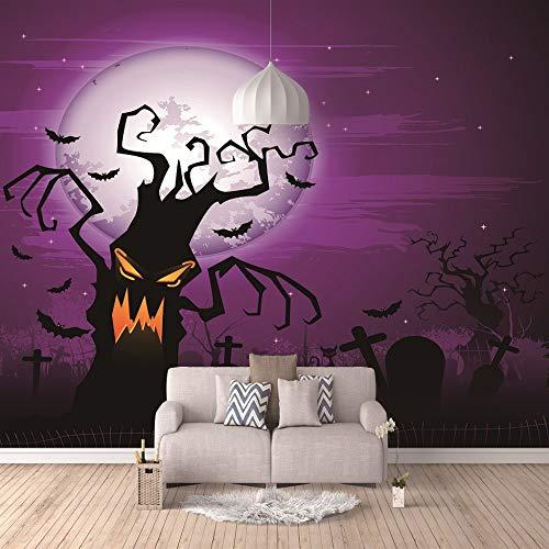 Fototapete 3D Große Halloween-Dekoration Wandbilder Wohnzimmer Sofa Schlafzimmer Kulisse Dekor-Tapete,250cm(W) x175cm(H)-5 Streifen ()