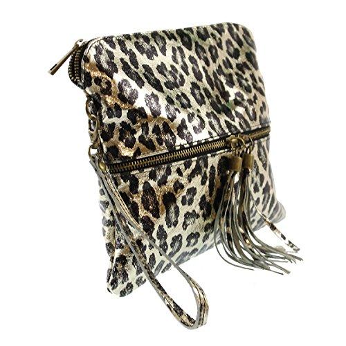 CTM Pochette da donna, borsetta a mano in vera pelle made in Italy, fantasia Animalier con tracolla 25x23.5x2 Cm Oro