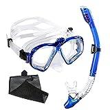 Gafas de Buceo con Tubo Unisex WEINAS Kit de Snorkel Profesional (Compatibles con Cámara GoPro Hero)para Adultos Actividad Subacuática, Máscara de Buceo con Lentes Vidrio Templado - Color Azul