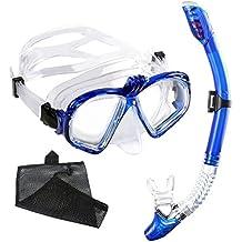 Gafas de Buceo con Tubo Unisex WEINAS® Kit de Snorkel Profesional (Compatibles con Cámara GoPro Hero)para Adultos Actividad Subacuática, Máscara de Buceo con Lentes Vidrio Templado - Color Azul