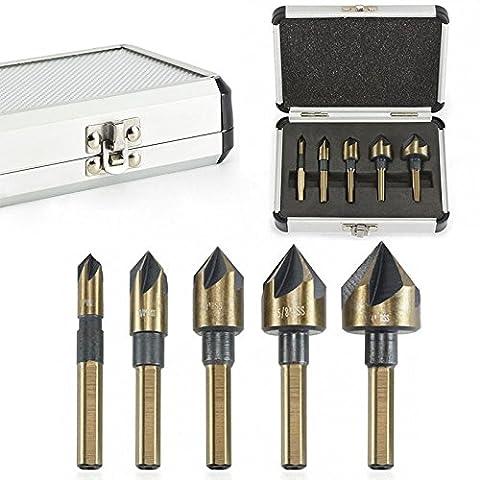 zhuotop 5x Industrie Kegelsenker Bohrer Set tri-flat Schaft Quick Change 1/10,2cm-3/10,2cm Kit Werkzeug