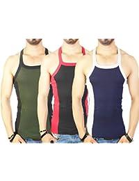 Zimfit Men's Gym Vest Pack Of 3 (Green_Black_Navy)
