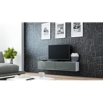 high gloss tv stand cabinet wall mountable floating unit 140cm white and grey