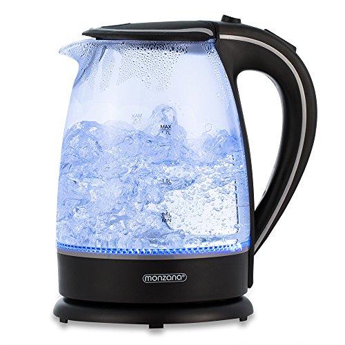 Monzana Wasserkocher Teekessel Teekocher 1,7 L schwarz Edelstahl 2200Watt LED Innenbeleuchtung 360° kabellos BPA frei