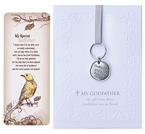 Geschenkset für Paten, Aufschrift You Are Loved, Zinn-Schlüsselanhänger, geprägte Grußkarte und Lesezeichen-Karte (Auto Zinn-anhänger)