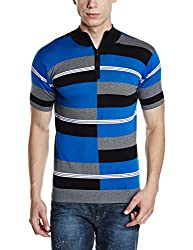 Van Heusen Mens Polo (8907566207961_VHKP516M07029_X-Large_Royal, Steel and Black)