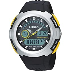 Lorus R2323DX9 Chronograph Duo Display Black Resin Strap Mens Wrist Watch
