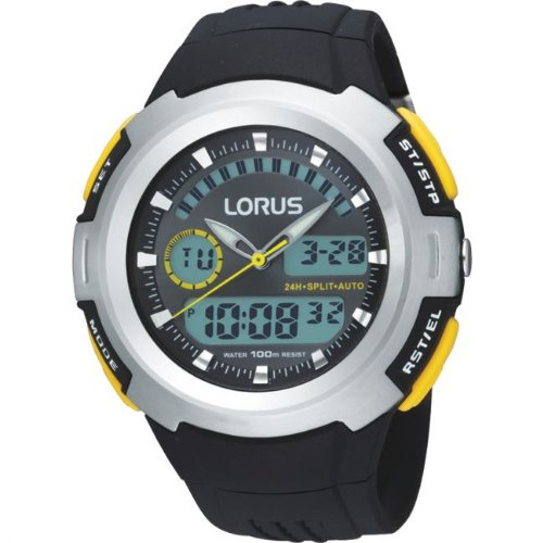 Lorus R2323DX9 Dual Display Chronograph Black Resin Strap Watch
