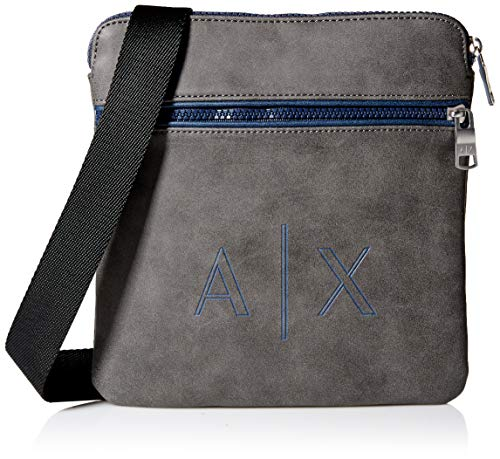 Armani Exchange A|X Herren Small Textured Crossbody with Logo Initials Print Kuriertasche, Grey/Blue, Einheitsgröße -