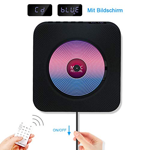 Jimwey CD Player Bluetooth HiFi Lautsprecher Portable Home Audio Wandmontage FM Radio MP3 mit Schlaf-Timer LED Display USB Eingang Fernbedienung 3,5mm AUX Kopfhörer Buchse Schwarz