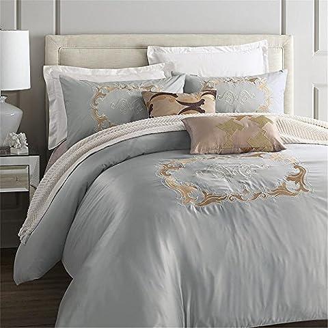 4-pièces coton imité soie Luxury Bedding Set couleur unie pincée