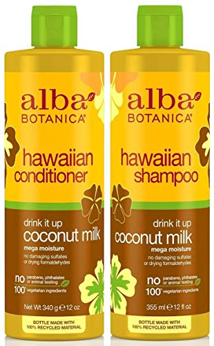 Alba Botanica, Drink It Up Coconut Milk Hawaiian Duo set Conditioner and Shampoo, 12 Ounce Bottles Each by Alba Botanica -