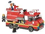 Funstones Baustein Feuerwehr Auto Wagen + Feuerwehr Männer Feuerwehrauto Bausteine Bausatz Set Bau Steine