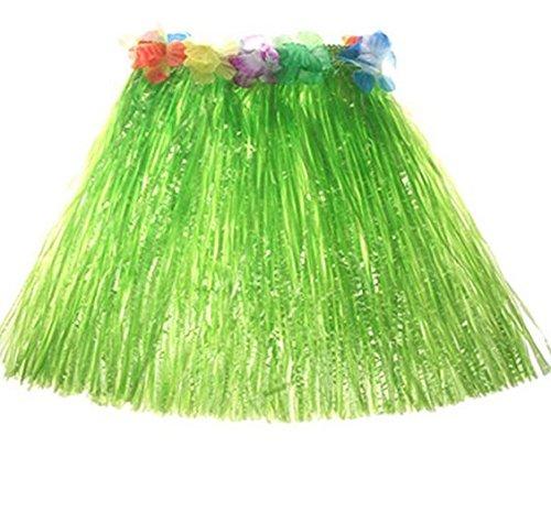 Oyfel Hawaiian Hula Gras Rock Fancy Kostüm Elastic für Luau Beach Party Gastgeschenken Mädchen Frauen verschiedene Farben, grün, 40 cm