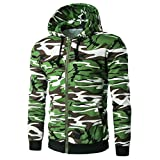 OverDose Men's Hoodies Camouflage Hooded Cotton+Polyester Zipper Hoody Outwear Jacket