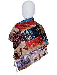 Indistar Vintage Silk Hand Quilted Kantha Hand Work Dupattas Reversible Scarves Scarf Patchwork Multicolor(80200... - B0767LK77Y
