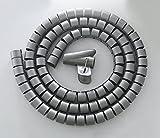 JZK 1.5mt Guaina copricavo tubo a spirale pieghevole organizzatore porta cavi fili canalina passacavi proteggi cavi elettrici PC TV grigio