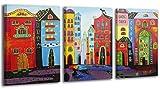 100% HANDGEMALT + Zertifikat | 120x80 cm | YS-Art Acryl Gemälde | Traum Stadt | Bild auf Leinwand und Holzrahmen | Bilder Handarbeit | Wand Bild Unikat | 3-Teilig | Moderne Kunst (RR-002)