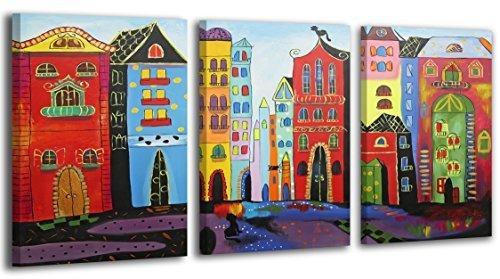 YS-Art Acryl Gemälde Traum Stadt | Handgemalt | 120x80cm | Wand Bild | Moderne Kunst| Leinwand | Unikat | Rot |3-teilig -