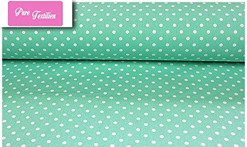 Erstklassiger Baumwollstoff 0,5lfm, 100% Baumwolle, modische Muster, Breite 160cm - Getupft 7mm mintgrün