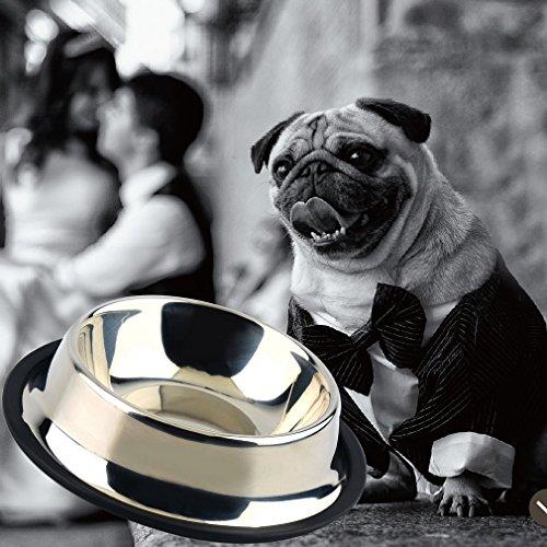 leoboone 1 x Edelstahl Standard Pet Puppy Cat Hundefutter oder Getränk Wasser Schüssel mit Einer effektiven Rutschfestigkeit Rostfrei, Silber, 1# -