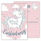 12 Lustige Kinder Einladungskarten im Set für Kindergeburtstag / Einhorn / Einladung Zum Geburtstag für Jungen und Mädchen / 12er Kartenset