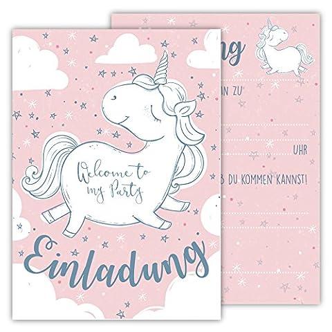 12 Lustige Einladungskarten Set Kindergeburtstag Einhorn Regenbogen Wolke Sterne Herz Party Karten Rosa Grau niedlich Einladung Geburtstag Party