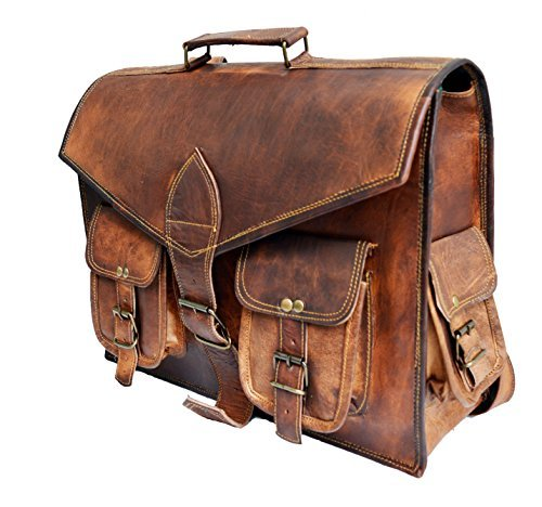 38,1 cm echtes Distressed Leder Vintage Laptop Rucksack Schulter Messenger-Tasche Cabrio Aktentasche (Distressed Laptop Messenger Leder)