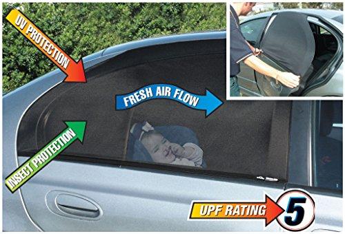 Luxus Auto Sonnenschutz Fenster Socken - Pack mit 2 großen universellen Socken für hintere Seitentüren in SUV-Größe. Dieser Sonnenschutz ist sowohl für quadratische als auch rechteckige Fenster geeignet. Ideale Sonnenblende für Babys.