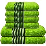 Liness-Stripes 6 tlg Handtuch-Set 4 Handtücher 50x100 cm 2 Duschtücher Badetücher 70x140 cm 100% Baumwolle grün