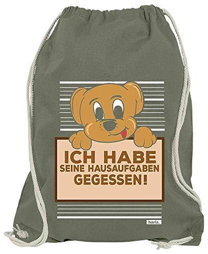 HARIZ Turnbeutel Hund Hausaufgaben Gefressen Süß Tiere Dschungel Plus Geschenkkarte Olive Grün One Size (Olive Kostüm Für Hunde)