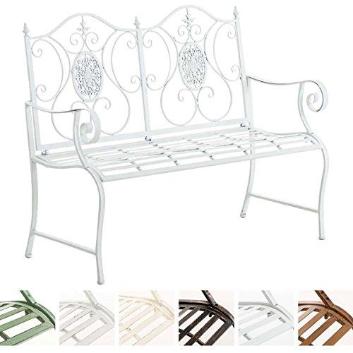 CLP Nostalgica panca da giardino PUNJAB, ferro laccato, antico, stile rétro, ca. 120 x 50 cm bianco