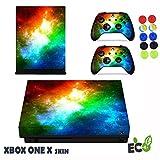 Xbox One X Skin Sticker, Morbuy Sternenklarer Stil Designfolie Vinyl-Folie Aufkleber für Konsole + 2 Controller Aufkleber Schutzfolie Set +10 pc Silikon Thumb Grips (Farbsterne)